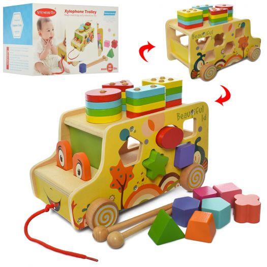 Розвиваючий центр ViVI WooD toy Каталка, сортер, Геометрика (ww-170)купити