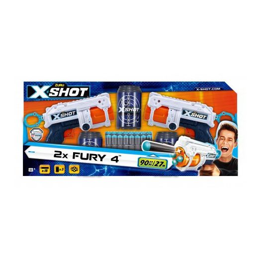 Набір скорострільних бластерів X-Shot EXCEL FURY 4 2PK (2 види зброї, 3 банки, 16 патронів) (36329Z)в Україні