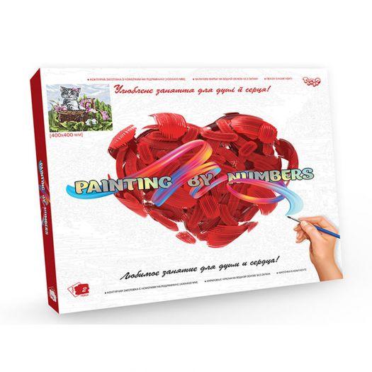 Картина за номерами Кіт в корзині на полотні Danko Toys №10 (KpN-40х40-02-10)в Україні
